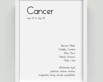 Cancer Zodiac Sign Cancer Zodiac Art Print Cancer Art Print Cancer Print Cancer Star Sign Zodiac Sign Art Astrology Print Astrology Decor