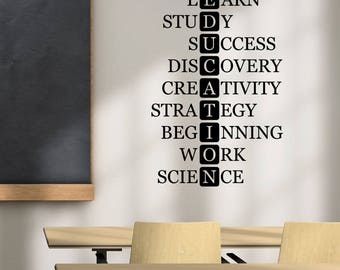 Education Vinyl Decal Wall Words Lettering Sticker Inspirational Wall Art Decorations for School Classroom Office Motivational Decor ed2