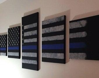 Wall canvas // thin blue line // american flag
