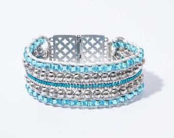 White Leather Wrap Bracelet, Aqua Beaded Bracelet