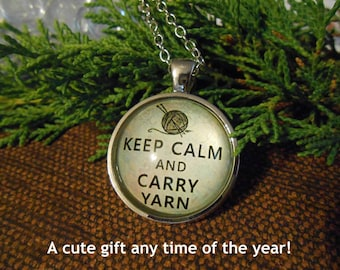 """Keep Calm & Carry Yarn Pendant Necklace - 24"""" Chain - Cute All Occasion Gift for a Knitter or Anyone Who Loves Crochet and Other Yarn Crafts"""