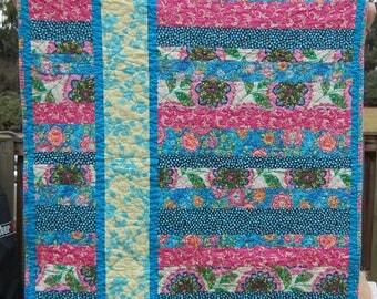 Stripe Baby Quilt, Modern Baby Quilt, Wheelchair Quilt, Lap Quilt, Pink Quilt, Blue Quilt, Baby Girl Quilt, Modern Crib Quilt, Floral Quilt