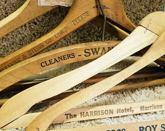 Assortment of 5 Vintage Wooden Clothes Hangers, Canadian Advertising Hangers