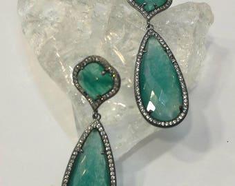 Petroleum Agate Earrings,Fuchsia Agate Earrings,Smoky Quartz Earrings,Zircon,Brass,Dangle Earrings,Drop Earrings,Nickel Free,Semi-Precious