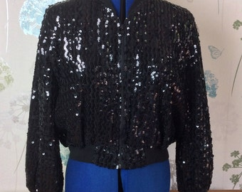 1980's Eclipse black sequin jacket size UK 10 EUR 36