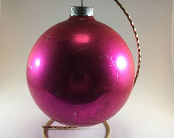 Very Large Vintage Christmas Ornament Hot Pink Glass Shiny Brite Six Inches Tall