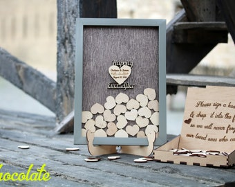Rustic wedding guestbook sign Alternative wedding guest book Happily ever after Wood guestbook Guest book heart Wedding drop box guest book