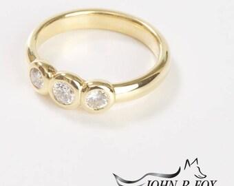 Chubbie Three Diamond Ring, Half Carat Total. John Fox