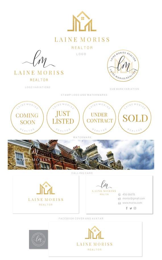 Branding kit logo design gold calligraphy real estate