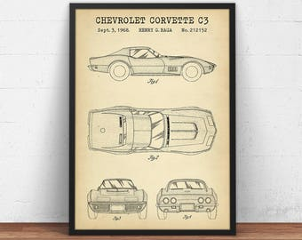 Chevrolet Corvette C3 Patent print, Digital Download, Chevy Blueprint Art, Racing Car Poster Printable, Boys Room Decor, Corvette Car Art