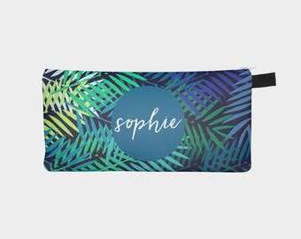 Personalized Pencil Case, Tropical Pencil Case, Monogram Pencil Pouch, Palm Leaf Pencil Pouch, Blue Pencil Bag, Personalized School Supplies