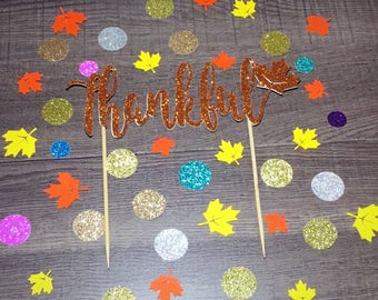Thanksgiving Cake Topper/Thankful Cake Topper/Thanksgiving Fall Topper