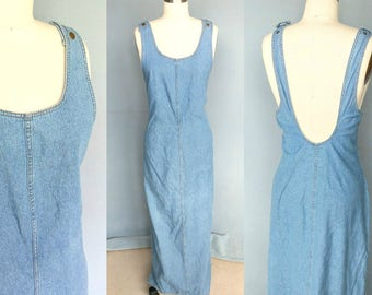 broken clocks / 90s light blue denim open back maxi dress jumper / large