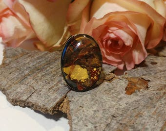 Oval ring, vintage ring, hand painted ring, boho ring, handmade ring, copper color ring, adjustable ring, unique jewelry, gift ring, ring