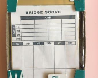 Park Sherman Brass Bridge score pad holder + vintage perforated removable sheet score pad, card games, vintage card paraphernalia