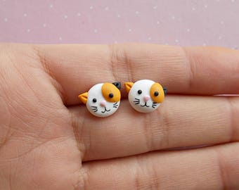 Cat Earrings - Cat Studs - Cat Jewellery - Calico Cat Earrings - Cat Jewelry - Cat Earrings Studs - Easter Basket