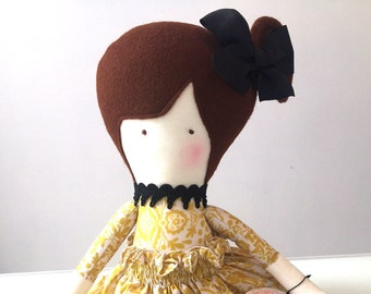 Hand made Rag Doll for girls with yellow skirt,  black shoes and bow
