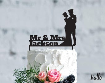 Police wedding cake topper, Wedding Cake Topper, Mr & Mrs Jackson Cake Topper, Silhouette Couple, Personalized with Last Name, special agent