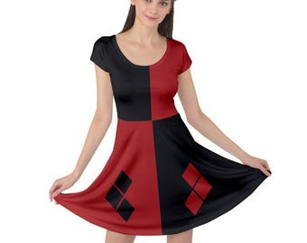Harley Quinn Dress - Batman Dress Dress Skater Dress  Harleen Quinzel Dress Cartoon Dress Plus Size Dress Comicon Dress Classic Harley Dress