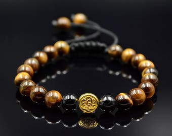 Tiger's Eye Bracelet For Men Beaded Bracelet Shamballa Bracelet Men's Bracelet Macrame Bracelet Gift for Men Gemstone Bracelet Men's Gift