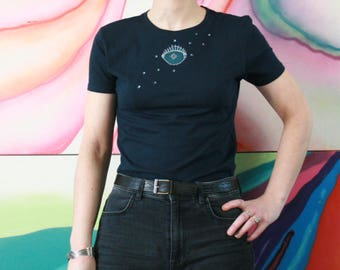 Blue women's t-shirts silver eye embroidery