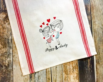 Valentine's Day Kitchen Towel - Personalized Couple Monogram - Kissing Couple - Hearts - Young Love - Mr and Mrs