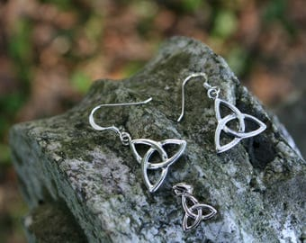 Celtic Trinity Knot Pendant and Earrings