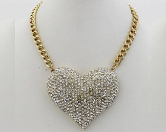 Fun Gold and Crystal Heart Choker Necklace NK7016