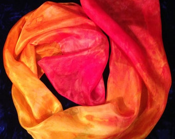 Hand Painted Silk Scarf or Shawl or Wrap - pink red, gold, orange, Handmade Woman's Silk Scarf Shawl, Wrap or sarong, red rainbow