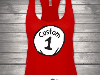1-Womens Racerback Tank, Customize Name Custom Title, Dr. Seuss Thing 1 Thing 2, Cat in the Hat, Disney, Universal Studios,  Couples Shirts
