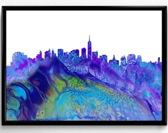 New York City, Watercolor Painting, City Skyline, Home Decor, Room Decor, gift, Wall Art (1067)