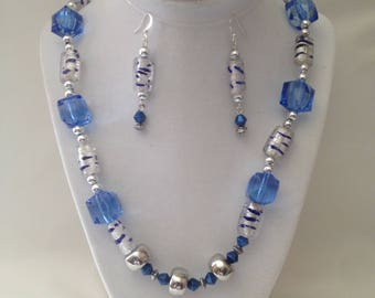 Crystal Blue Necklace Earring Set