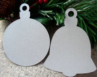 Die Cut Silver Bells Christmas Ball & Bell Tags Silver Paper Wedding Bells Christmas Tags Silver Christmas Gift Tags Set 16 Holiday Tags