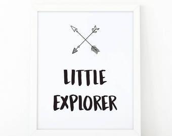 Little explorer, Quote print, explorer printable, kids room decor, explorer, explorer print, wall art print, nursery wall art, nursery art