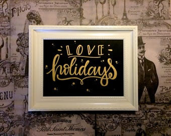 Love Holidays 2 - golden oil painting - hand made