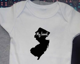 NEW JERSEY is my hood shirt, all sizes, youth toddler baby and adult, baby bodysuit, going away gift, travel gifts, usa state shirt, hip hop