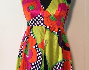 Vintage 1960s/70s Hukilau Fashion Tropical Psychedelic Neon Floral Halter Dress