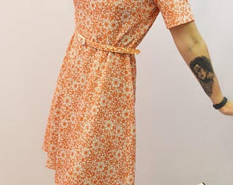 Mothers day gift 1960's Orange and white floral A -line dress with belt made by Jeannie Jersey