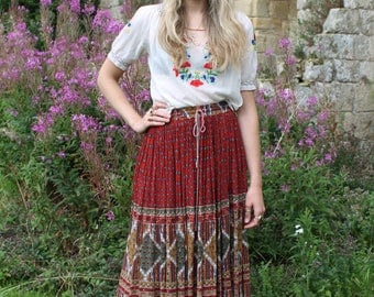 Magic Carpet Ride Vintage c. 1970s Indian Gauze Ethic Folk Peasant Skirt