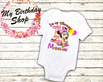 Minnie Mouse 1st Birthday Outfit, Minnie One Piece, 1st, 2nd, 3rd, 4th, 5th Birthday Shirt / Birthday Girl Shirt, Pink Minnie Outfit, 1st