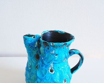 Small jug or pitcher vintage turquoise ceramic Fat Lava
