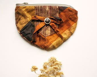 Autumnal Elegance - One of a Kind Handmade lined zipper pouch - mini gold brown faux bois silk coin purse -  Made in USA Moth & Rust
