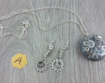 Necklace + Earrings: Dreams of Steam and Steel; silver parts in resin pendant on chain; for lovers of Steampunk
