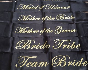 Hen Party sashes mix and match black and gold UK seller bachelorette bride tribe team bride Quick dispatch