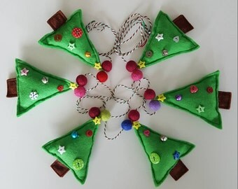Christmas tree garland- christmas tree bunting- tree garland- festive garland