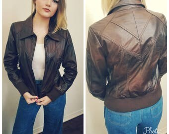 Neiman Marcus Leather Bomber Jacket. Designer leather jacket. Brown. Size Small.