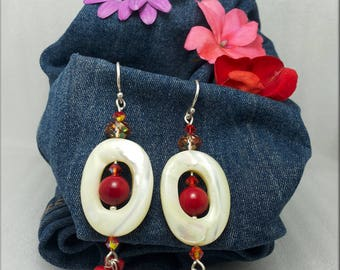 Silver earrings with coral and rims with red coral