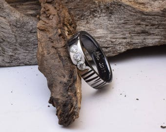 Unique engagement ring, titanium ring with tree bark pattern and tree flush set CZ stones, womens wedding band, womens engagement rings