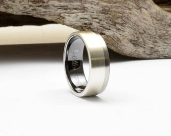 Titanium wedding band with sterling silver inlay and black titanium interior, mens wedding band, black titanium ring, his wedding band