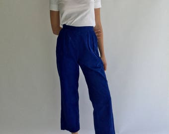 Vintage 25 Waist Indigo Over dye Blue Pleat Pant | High Waist High Rise Trouser Crop Pant | French Workwear Style Blue Pant S